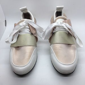 Forever 21 pink tennis shoes satin ties 8